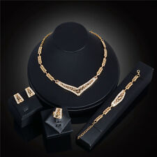 Fashion Wedding Bride Jewelry Set 18K Gold Plated Hollow Crystal Fine Jewelry