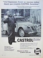 PUBLICITÉ DE PRESSE 1960 CASTROL VAINQUEUR MONTE CARLO - 2 CV CITROEN