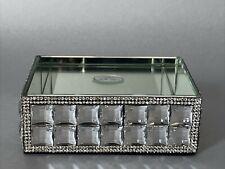 Bella Lux Soap Dish Tray Rhinestone Mirrored Glass Sparkle Bathroom Accessories