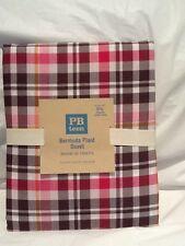Pottery Barn PB Teen 100% Cotton Bermuda Plaid Full/Queen Duvet-Pink/Brown