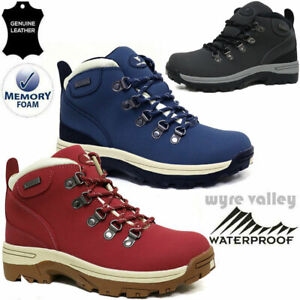Ladies Memory Foam Leather Walking Hiking Waterproof Ankle Boots Trainers Shoes