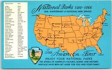 1966 National Parks 50th Anniversary Postcard U.S. Map w/ NP Locations UNUSED