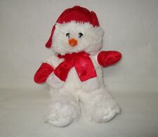 White Plush Snowman Bear with Red Hat, Scarf and Mittens KellyToy
