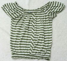 Weavers Green White Striped Poly Rayon Tee T-Shirt Short Sleeve Large Woman's