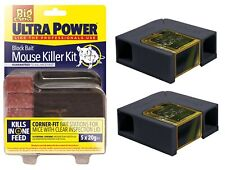 2 x ULTRA POWER Indoor Mouse Poison Killer Station With 5x20g Block Bait Rodent