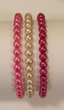 Set of 3 Pink Mix Glass Pearl Bead Bracelets - NEW