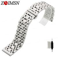 ZLIMSN Silver Soild Stainless Steel Link Watch Bracelet Wrist Band Strap 16-22mm