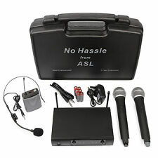 No Hassle UHF Wireless Radio Microphone System Dual Handheld Headset Mics Case