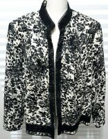 Nygard Collection Jacket Women's Size 22 Black White Lined Embroidered (?)