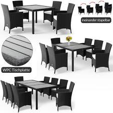 Conjunto de sillas de poliratán y mesa WPC Sillas apilables Jardín Terraza Patio