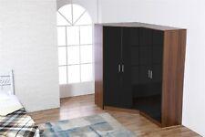 REFLECT Plain 4 Door Corner Wardrobe Gloss Black / Walnut Bedroom Furniture Set
