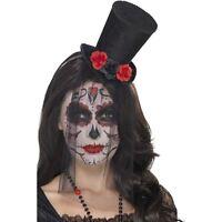 Women's Day Of The Dead Black Mini Top Hat Halloween Fancy Dress Roses Lace Veil