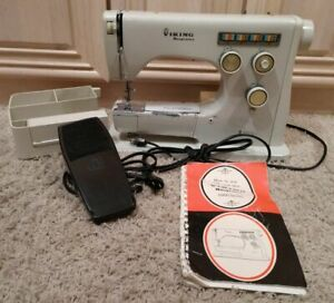 Viking Husqvarna Metal Free Arm Sewing Machine, Cams, Manual, Tray, Foot Control