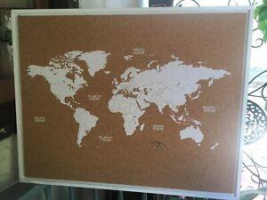Large Frame Corkboard World Map Travel Atlas Geography Hanging Wall Board Decor