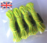 HI VIS - YELLOW & GREEN Fluorescent Guy Line Ropes x4 PACK Paracord Tent Camping