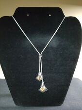 """Vintage Calla Lily Flower Necklace Avon Silver Tone Bells Lariat Style 21"""""""