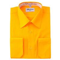 Berlioni Italy Men's Convertible Cuff Solid Italian French Dress Shirt Gold