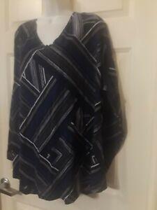 Women's 4X Long Sleeve V-neck Shirt 62 Inch Chest