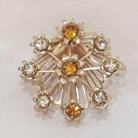 Vintage Flower Metal Brooch Gold Tone Floral Rhinestones Pin