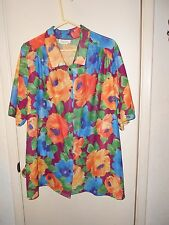 Roaman's. Multi-Color simi-sheer button up short sleeve blouse Size may be 20W