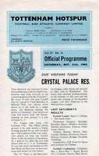 Crystal Palace Football Reserve Fixture Programmes (1960s)