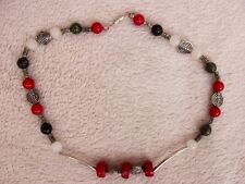 red coral, serpentine, aventurine necklace length approx. 16 inches