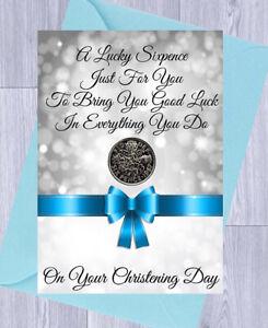 CHRISTENING Gift, LUCKY SIXPENCE BOY or GIRL Gift Card & Envelope