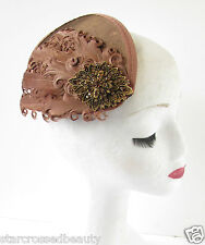 Brown & Bronze Feather Fascinator Headpiece Hair Clip Vintage Races Diamante R34