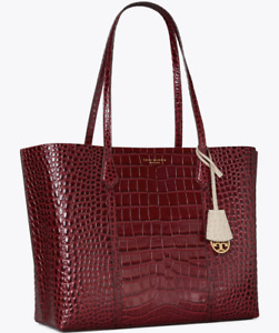Tory Burch Perry Embossed Tote Bag Triple Compartment Claret Authentic New