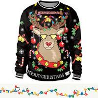 Christmas Elk Printed Sweatshirt Pullover Hoodie XMAS Warm Loose Long Sleeve Top