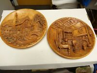 2 Chalk Ware Vintage HOME 3D Hanging Wall PlaqueS Chalkware HOME & INSIDE HOME