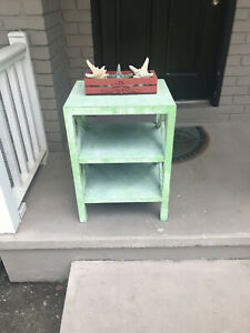 Accent table, side table, coastal, nightstand, chalk paint, distressed, beachy