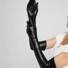 Adult Sexy Long Latex Leather Gloves Black Charm Clubwear Sexy Catsuit Cosplay
