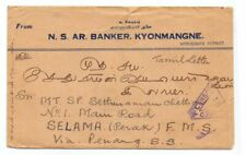 BURMA 1941 CENSORED COVER USED KYONMANGE TO PERAK