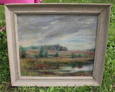 Antique Vintage Oil Painting 1938 Landscape Signed L. A. N.