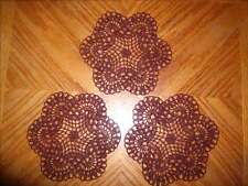 """Lot of 3 hand crochet 6"""" BURGUNDY colored  doilies or coasters"""