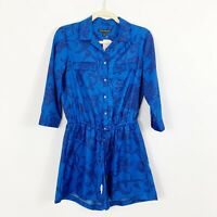 NEW Banana Republic Womens Silky Long Sleeve Floral Romper Blue Size 2 PETITE