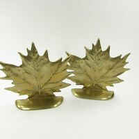 Vintage Brass Maple Leaf Bookends