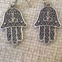 vintage pierced  Hamsa khamsa hand of Fatima / Miriam  lucky eye hand earrings