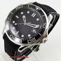 41mm bliger sterile black dial luminous sapphire glass date automatic mens watch