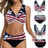 Women American Flag Print Push-up Bra Bikini Ruffles Swimsuit Bathing Suit Swim