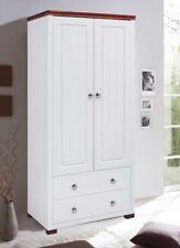 Kleiderschrank Sclafzimmerschrank 80cm Kiefer massiv weiß / Kirschbaum 459077