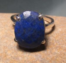 925 Sterling silver chequer cut LAPIS LAZULI ring UK M½/US 6.5. Gift Bag.