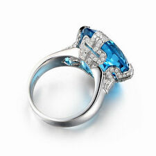 18ct White Gold Stunning Natural Topaz and Diamond Cocktail Ring VVS