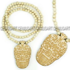 Good Quality Wood Beaded Chain Necklace Hip-Hop Style Dance Face Totem Pendant