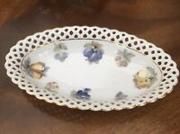 Vintage Pierced Ware Oval Dish With Fruit Decoration. 7x4 Inch
