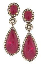 925 Sterling Silver Earrings Victorian Look Ruby RoseCut Diamond