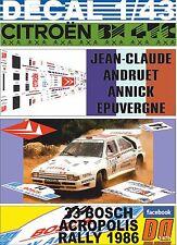 DECAL 1/43 CITROEN BX 4TC J-C.ANDRUET ACROPOLIS R. 1986  DnF (01)