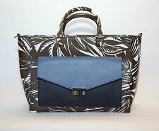 Tory Burch Tabora Blue Navy T Lock Printed Patent Leather Tote with clutch NWT