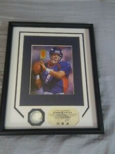 """*Vintage """"JOHN ELWAY"""" Framed 12""""x15 w/Game Used Jersey/Silver Coin Highland Mint"""